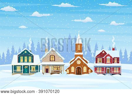 Suburban House Covered Snow. Building In Holiday Ornament. Christmas Landscape Tree. New Year Decora