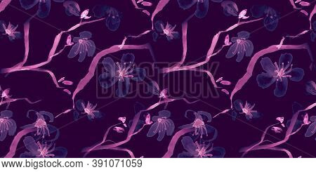 Watercolor Cherry Blossom Draw. Purple Apple Flower Texture. Oriental Japanese Ornament. Black Cherr
