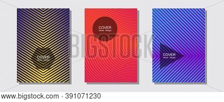 Halftone Gradient Texture Vector Cover Layouts. Scientific Style Mix. Halftone Lines Music Poster Ba