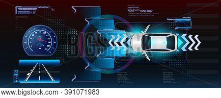 Automatic Braking System Avoid Car Crash And Accidents. Autonomous Vehicle Movement. Smart Car With