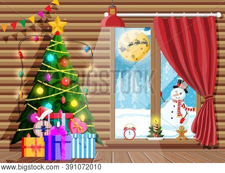 Cozy Interior Of Room With Christmas Tree. Happy New Year Decoration. Merry Christmas Holiday. New Y