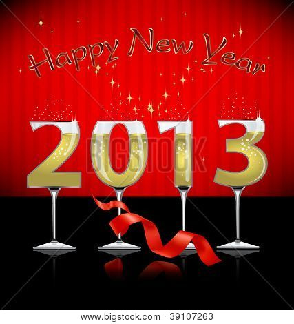 Happy New Year background with stylized glass