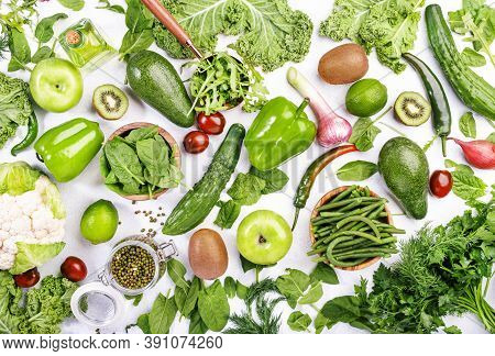 Variety Of Green Vegetables And Fruits. Healthy Food Clean Eating: Vegetable, Seeds, Superfood, Leaf