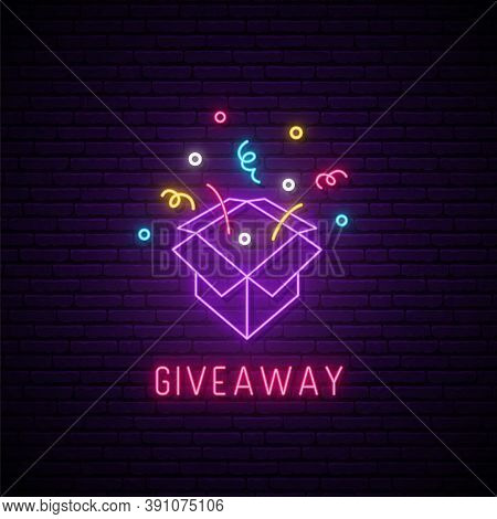 Giveaway Neon Sign. Bright Neon Signboard For Social Media. Glowing Neon Gift Box And Text Giveaway.