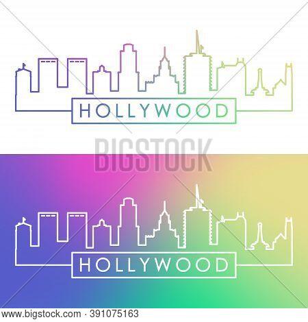 Hollywood California Skyline. Colorful Linear Style. Editable Vector File.