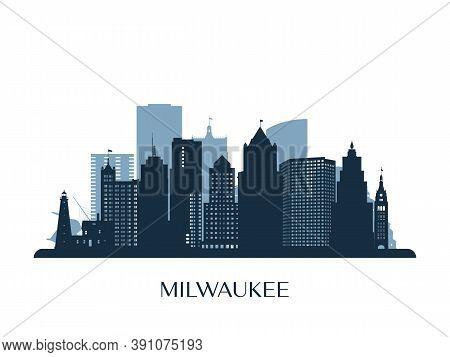Milwaukee Skyline, Monochrome Silhouette. Design Vector Illustration.