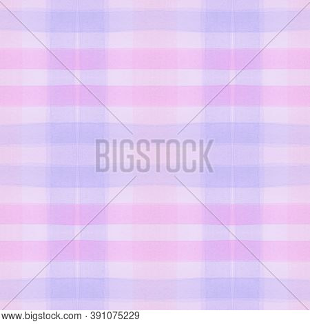 Pink Pajama Pattern. Woven Seamless Check Textile. Watercolor Stripes For Kilt Design. Girl Purple P