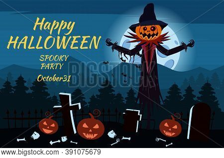 Happy Halloween Scarecrow Character At The Cemetery With A Jack O Lantern Head Pumpkin In Ripped Coa
