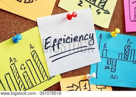 Efficiency Word On The Memo Stick Pinned To Board.
