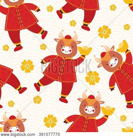 Chinese New Year 2021 Ox. Seamless Pattern Cute Baby Bulls In Traditional Red Chinese Clothes With G