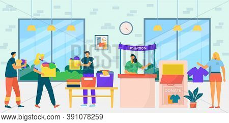 Charity Donation Work, People Collect Clothes For Donation Care, Vector Illustration. Social Assista
