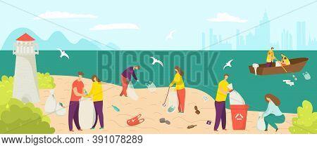 Garbage Waste At Beach, Clean Environment At Shore Vector Illustration. Cartoon People Pick Up Trash