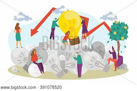 Person Character At Business Idea Crisis, Professional Success Strategy Vector Illustration. Busines
