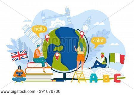 Tourism Education In Online School Concept, Vector Illustration. Speak With Translation Communicatio