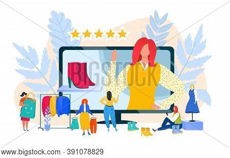 Internet Communication Online In Social Media, Fashion Blogger Vector Illustration. Woman Female Web