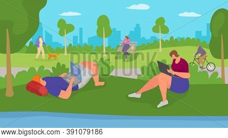 Work Person With Flat Laptop Computer In Park, Vector Illustration. Business Man Woman Character Onl