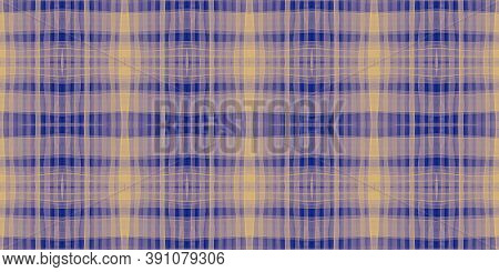 Watercolor Textured Checks. Yellow Stripes Material. Celtic Kilt Print. Seamless Checkered Ornament.
