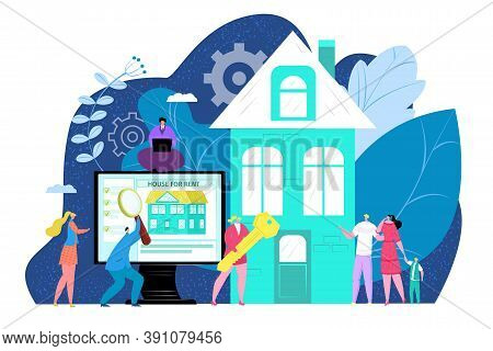 House For Family, Home Rent Concept Vector Illustration. Property And Real Estate Mortgage, Sale And