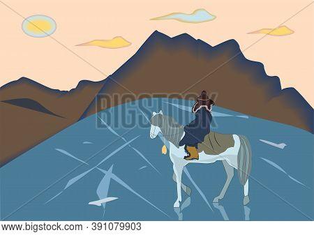 Lake Baikal. Horse rider. Sunset. Pink background.