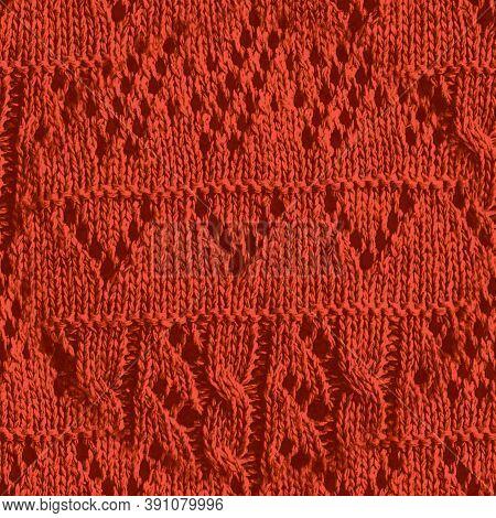 Orange Nordic Knitting. Xmas Scandinavian Pattern. Organic Knit Wallpaper. Seamless Jacquard Warm De