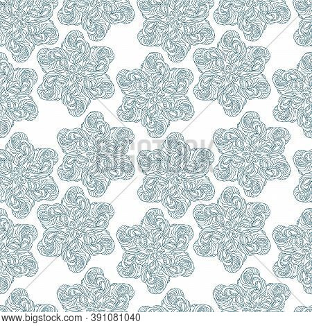 Seamless Pattern. Blue Six-pointed Stars, Snowflakes, Elements On A White Background. Ornate Scrollw