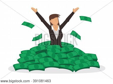 Happy Rich Woman With Big Heap Of Stacked Money. Billionaire Business Woman Or Smiling On A Huge Cas