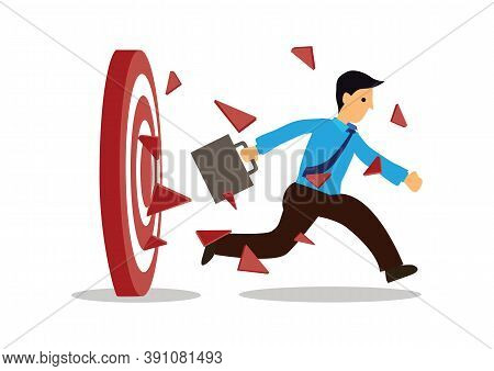 Businessman Breakthrough The Target Archery. Concept Of Breaking The Goal. Flat Vector Illustration