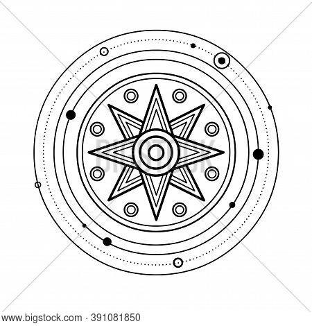 Cartoon Drawing: Ancient Sumerian Symbol Divine Star. Orbits Of Planets. Vector Illustration Isolate