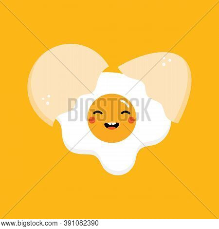 Cute And Smiling Cartoon Style Fried Egg Character And Eggshell For Cooking, Breakfast Design.