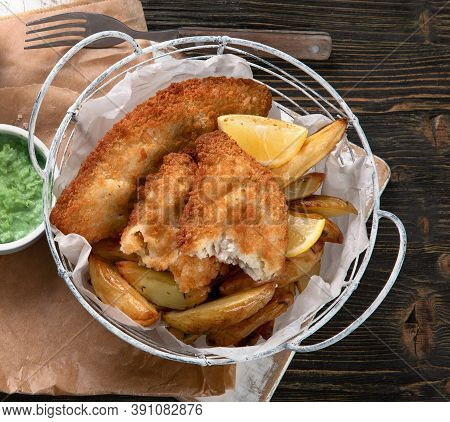 British Traditional Cuisine Fish And Chips