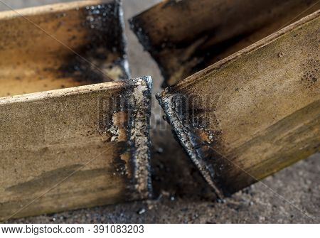 The Metal Cutting With Acetylene Torch Closer