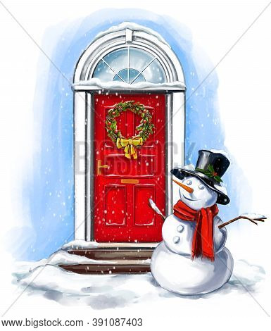 Christmas Home Decoration, Snowman, Christmas Wreath On The Door In Winter, Art Illustration Painted