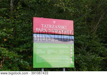 Tatra Mountains, Poland, 23/09/2020. Tatra National Park (tatrzanski Park Narodowy) Tourist Informat