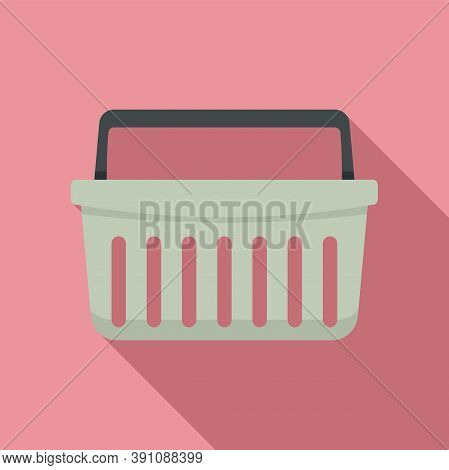 Hypermarket Shop Basket Icon. Flat Illustration Of Hypermarket Shop Basket Vector Icon For Web Desig