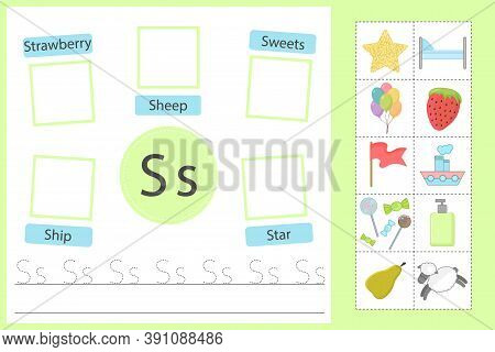 Alphabet Tracing Worksheet For Preschool And Kindergarten. Writing Practice Letter S. Exercises With
