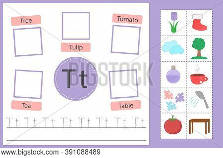 Alphabet Tracing Worksheet For Preschool And Kindergarten. Writing Practice Letter T. Exercises With