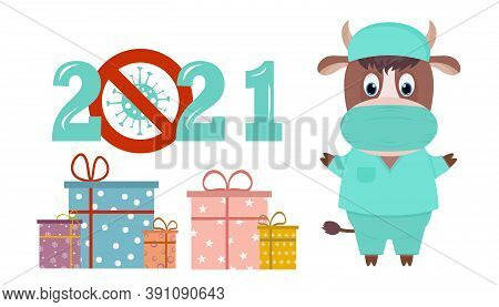 Happy New Year 2021 Number With Covid-19 Coronavirus Epidemic Stop Sign. New Year's Bull-a Character