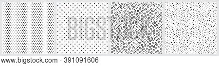 Black and white seamless patterns. Terrazzo, hand drawn circles, stitch crosses, marks on white background.