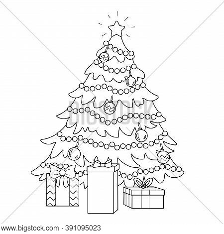 Coloring Page Of A Decorated Christmas Tree With Gifts. Vector Black And White Illustration On White