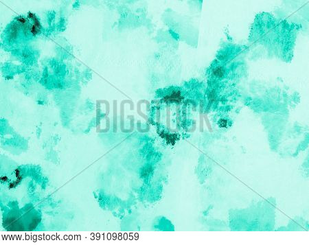 Abstract Water Color. Neo Mint Ink Drawing. Artistic Craft Surface. Paint Aquarel Spots Texture. Ink