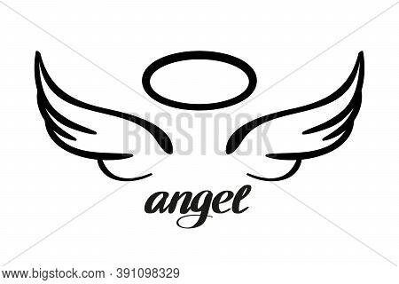 Angel Wings And Halo, Icon Sketch , Religious Calligraphic Text Symbol Of Christianity Hand Drawn Ve