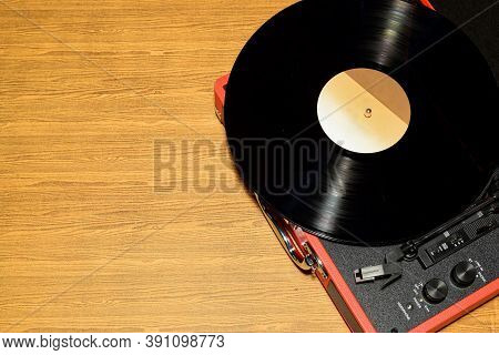 Top View Of Vinyl Record Player With Vinyl Record  But Music Is Not Play Because Stylus Is Not On Vi