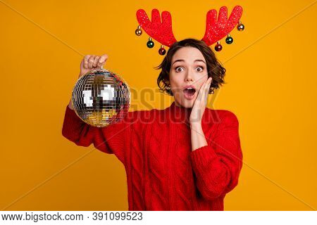 Party Is Canceled. Photo Of Pretty Scared Lady Hold Disco Ball Ready Theme Party Celebration Bad New