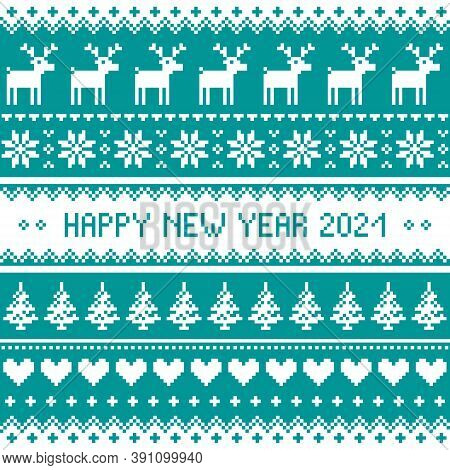 Happy New Year 2021 - Scandinavian Vector Seamless Cross-stitch Pattern Or Greeting Card Design
