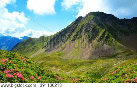 Mountain landscape near Col du Tourmalet in Pyrenees mountains. France.