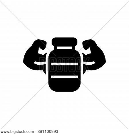 Black Solid Icon For Reinforce Bolster Boost Build-up Protein Muscle-arm Biceps Bodybuilder Powerful