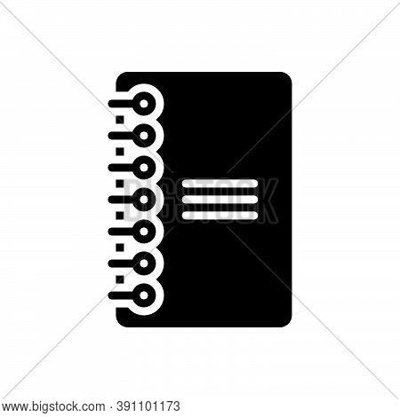Black Solid Icon For Bind Book Binder Document Education Bookmark Spiral Tether Bandage