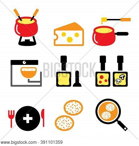 Swiss Food And Dishes Vector Icons Set - Fondue, Raclette, Rösti, Cheese Design, Switzerland's Meals