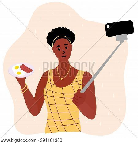 Black African Woman Food Blogger Making Photo Selfie With Sausages And Scrambled Eggs For Blog. Cute