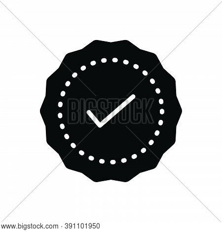 Black Solid Icon For Advantage Quality Certified Approval Guarantee Check Ok Premium